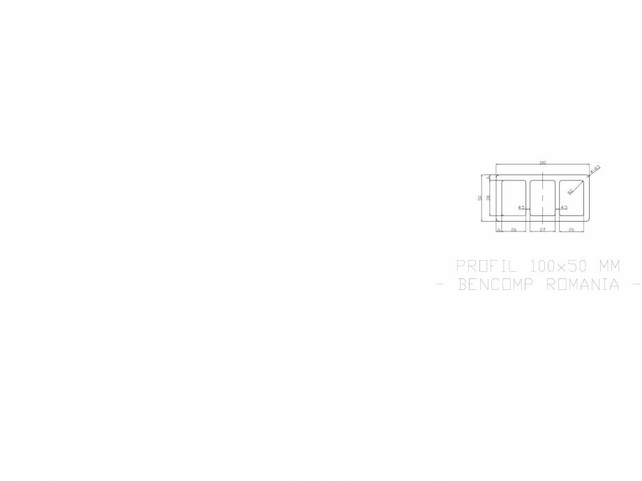 Pagina 1 - CAD-DWG Profil lemn compozit WPC 100x50 mm BENCOMP Detaliu de produs