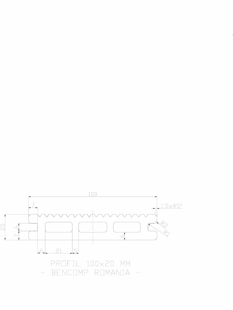 Pagina 1 - CAD-DWG Profil lemn compozit WPC 100x20 mm BENCOMP Detaliu de produs