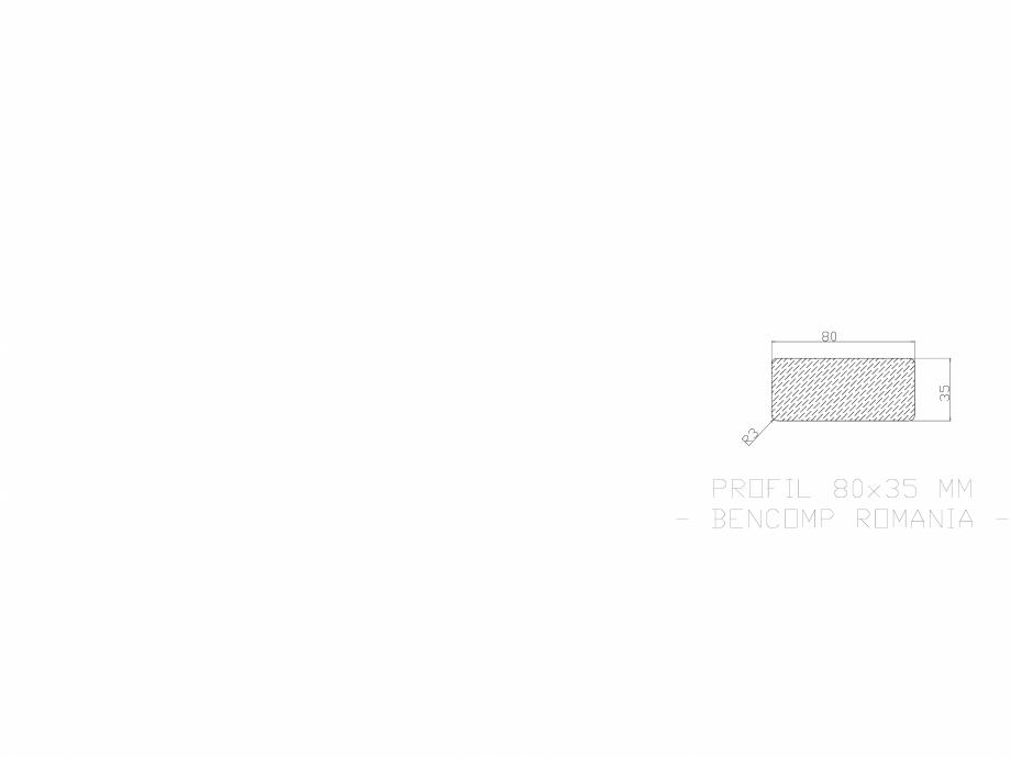 Pagina 1 - CAD-DWG Profil lemn compozit WPC 80x35 mm BENCOMP Detaliu de produs