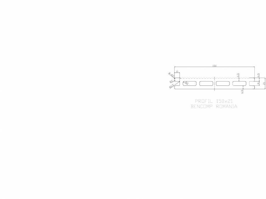 Pagina 1 - CAD-DWG Profil lemn compozit WPC 150x21 mm BENCOMP Detaliu de produs