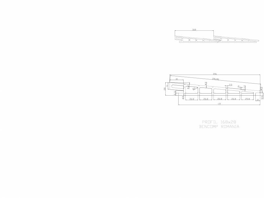 Pagina 1 - CAD-DWG Profil lemn compozit WPC 168x28 mm BENCOMP Detaliu de produs