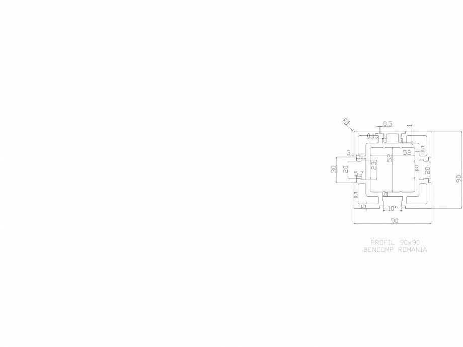 Pagina 1 - CAD-DWG Profil lemn compozit WPC 90x90 mm BENCOMP Detaliu de produs