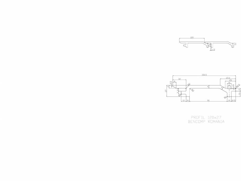 Pagina 1 - CAD-DWG Profil lemn compozit WPC 120x27 mm BENCOMP Detaliu de produs