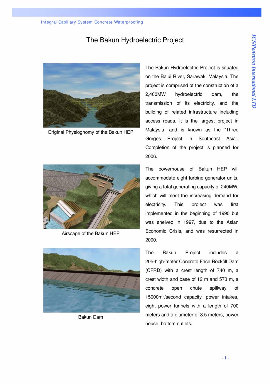 Pagina 1 - Proiectul hidroelectric Bakun PENETRON PENETRON, PENETRON ADMIX, PENETRON PLUS Lucrari,...