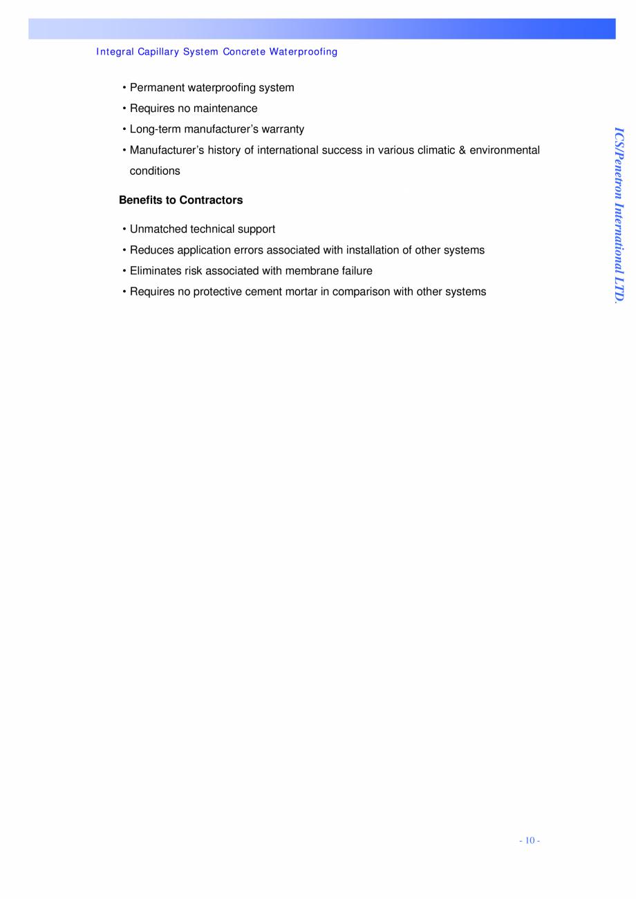 Pagina 10 - Proiectul hidroelectric Bakun PENETRON PENETRON, PENETRON ADMIX, PENETRON PLUS Lucrari, ...