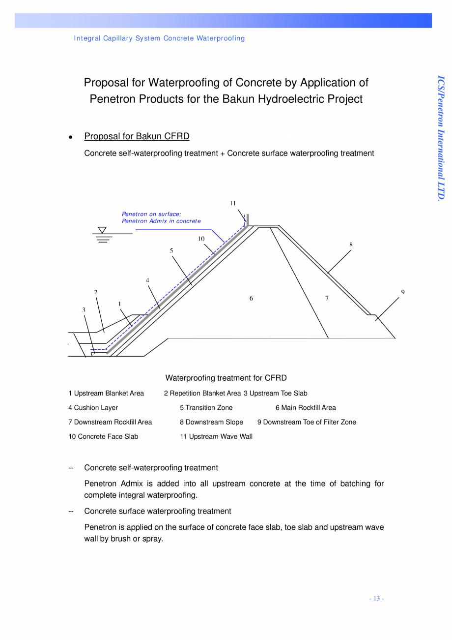 Pagina 13 - Proiectul hidroelectric Bakun PENETRON PENETRON, PENETRON ADMIX, PENETRON PLUS Lucrari, ...