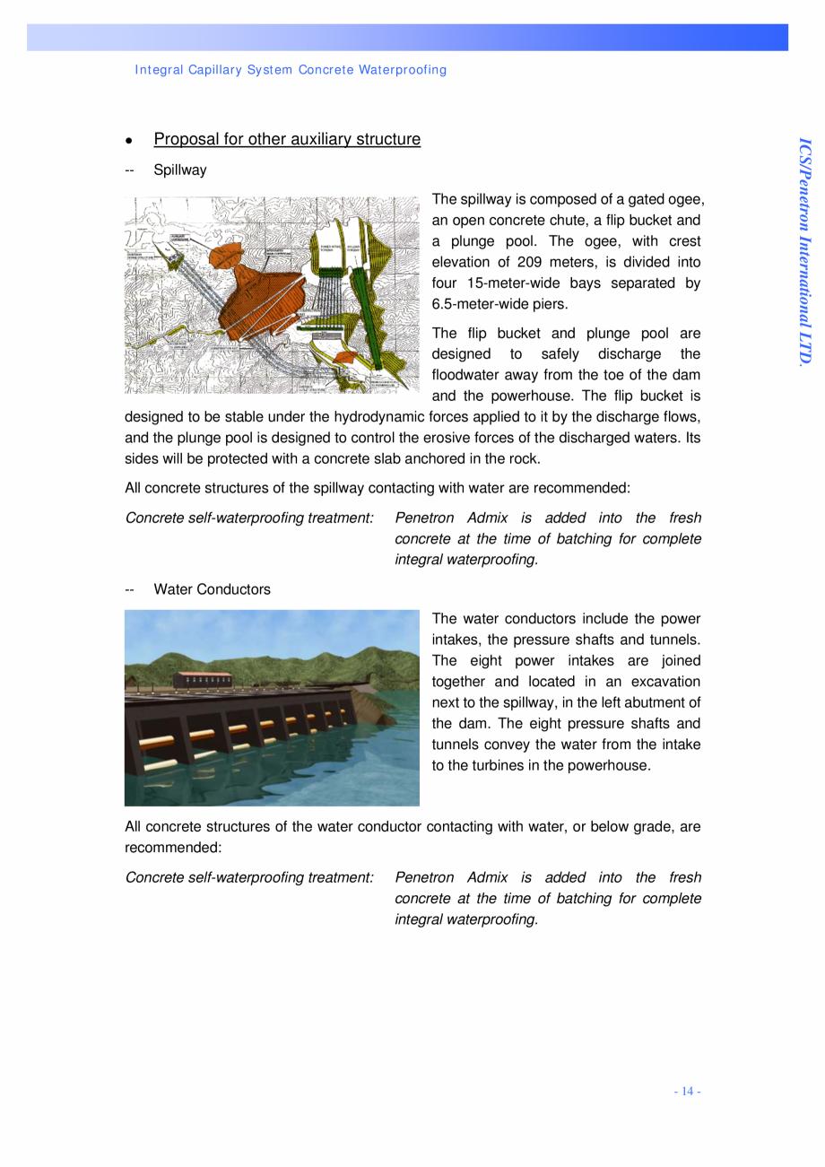 Pagina 14 - Proiectul hidroelectric Bakun PENETRON PENETRON, PENETRON ADMIX, PENETRON PLUS Lucrari, ...