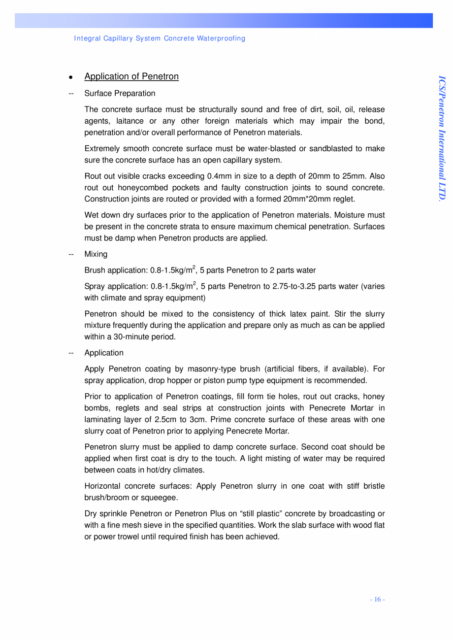 Pagina 16 - Proiectul hidroelectric Bakun PENETRON PENETRON, PENETRON ADMIX, PENETRON PLUS Lucrari, ...