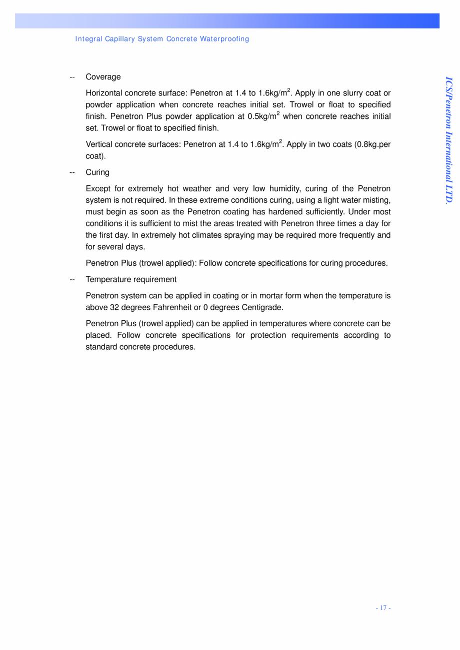 Pagina 17 - Proiectul hidroelectric Bakun PENETRON PENETRON, PENETRON ADMIX, PENETRON PLUS Lucrari, ...