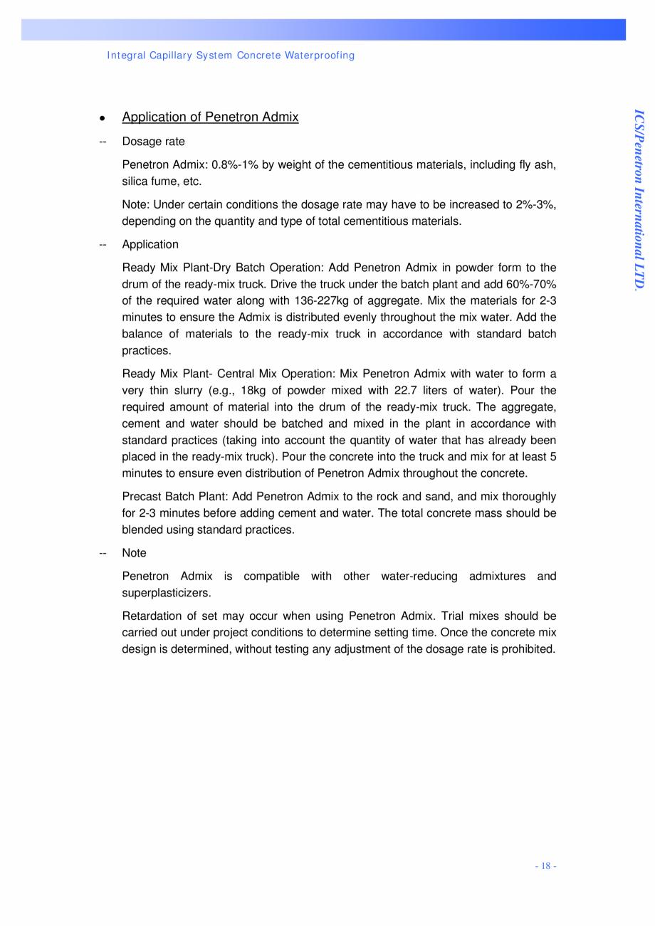 Pagina 18 - Proiectul hidroelectric Bakun PENETRON PENETRON, PENETRON ADMIX, PENETRON PLUS Lucrari, ...