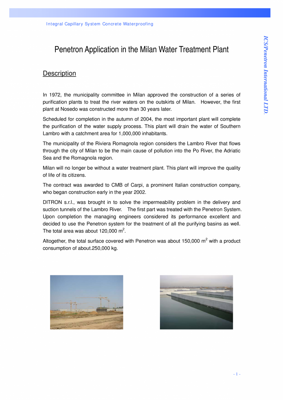 Pagina 1 - Statie de epurare a apei - Milano, Italia PENETRON PENECRETE MORTAR, PENETRON Lucrari,...