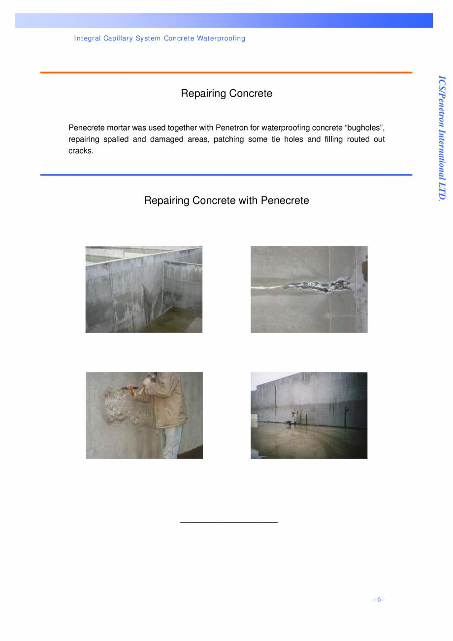 Pagina 6 - Statie de epurare a apei - Milano, Italia PENETRON PENECRETE MORTAR, PENETRON Lucrari,...