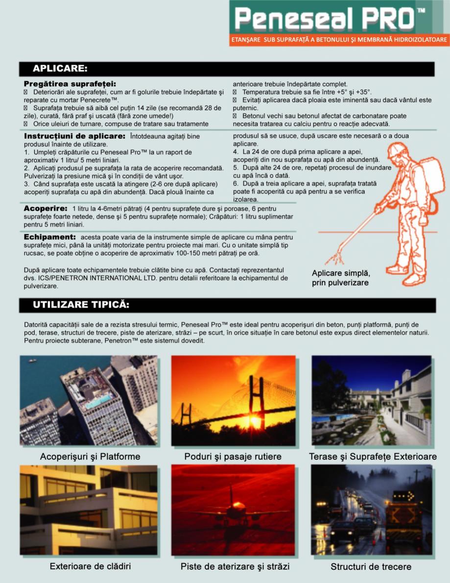 Pagina 3 - Tratament hidroizolant autoreparator pentru suprafete expuse din beton PENETRON PENESEAL ...