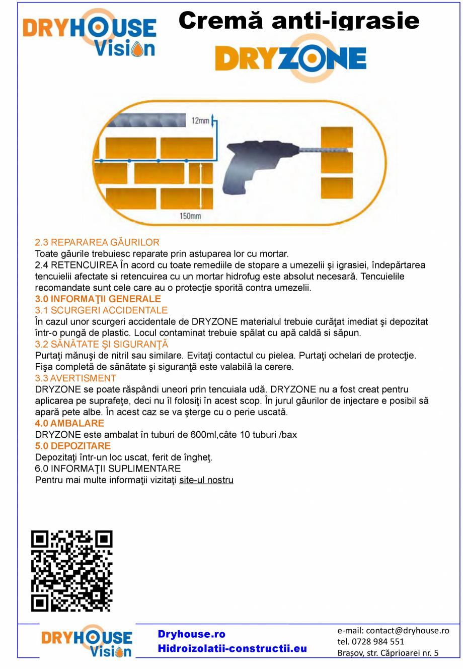 Pagina 4 - Crema anti-igrasie DRYHOUSE VISION DRYZONE Fisa tehnica Romana hidrocarburi. GARANŢIA...