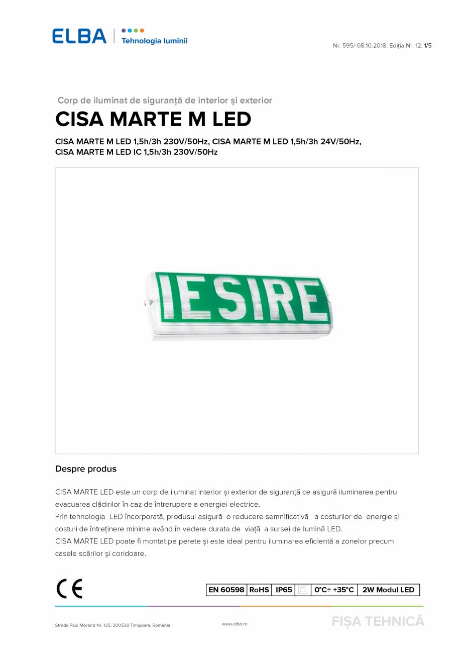 Pagina 1 - Corp de iluminat de urgenta ELBA-COM Marte - CISA M Fisa tehnica Romana Nr. 595/ 08.10...