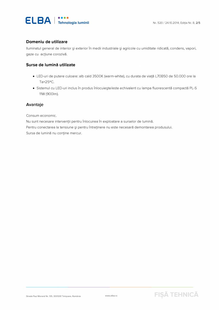 Pagina 2 - Corp de iluminat industrial protejat la praf si umezeala ELBA-COM EI-04 4LED Bolo Fisa...