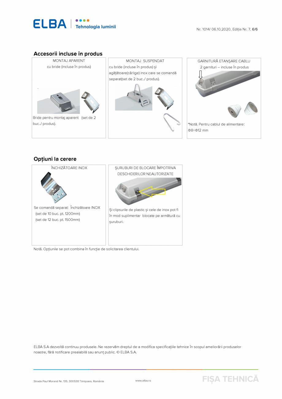 Pagina 6 - Corp de iluminat protejat la praf si umezeala, rezistent la impact ELBA-COM FIPAD-06...