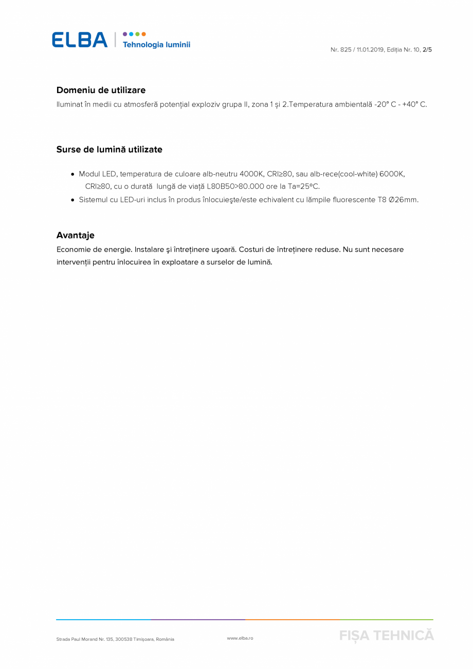 Pagina 2 - Corp antiexploziv pentru iluminat ELBA-COM CFSM 03 Fisa tehnica Romana uşoară. Costuri ...