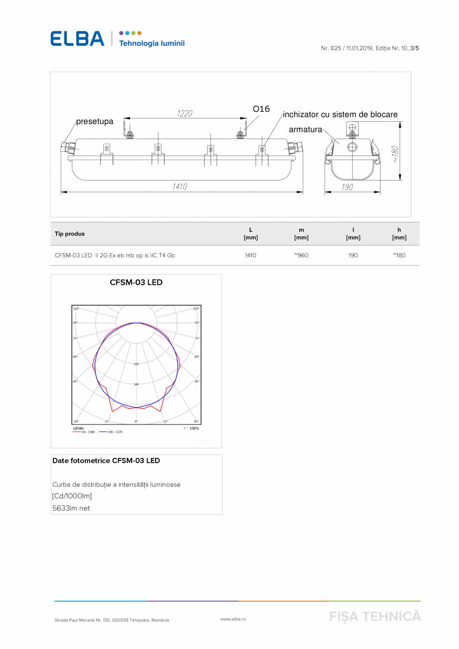 Pagina 3 - Corp antiexploziv pentru iluminat ELBA-COM CFSM 03 Fisa tehnica Romana are prin garnitura...