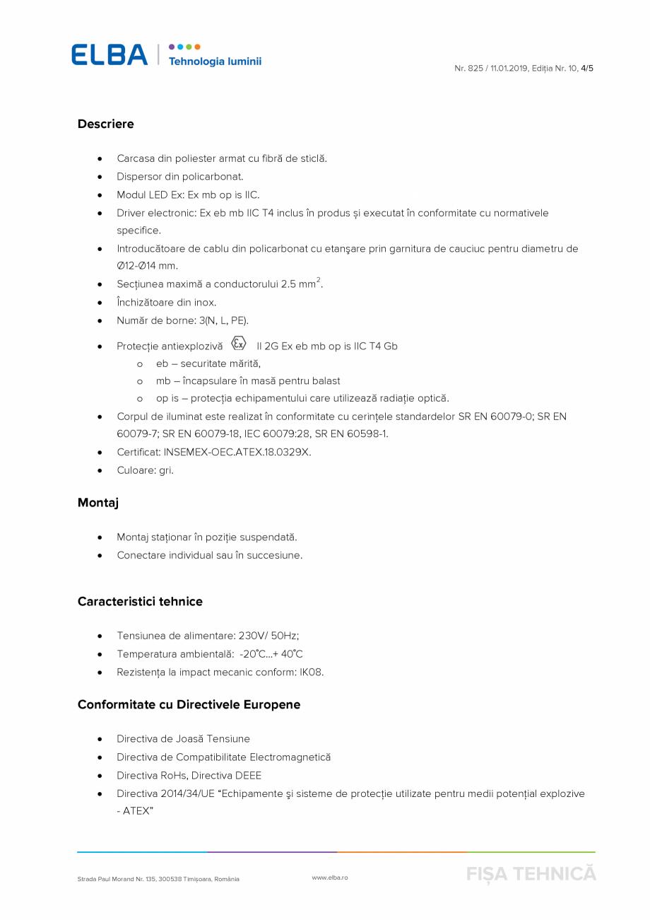 Pagina 4 - Corp antiexploziv pentru iluminat ELBA-COM CFSM 03 Fisa tehnica Romana  Electromagnetică...