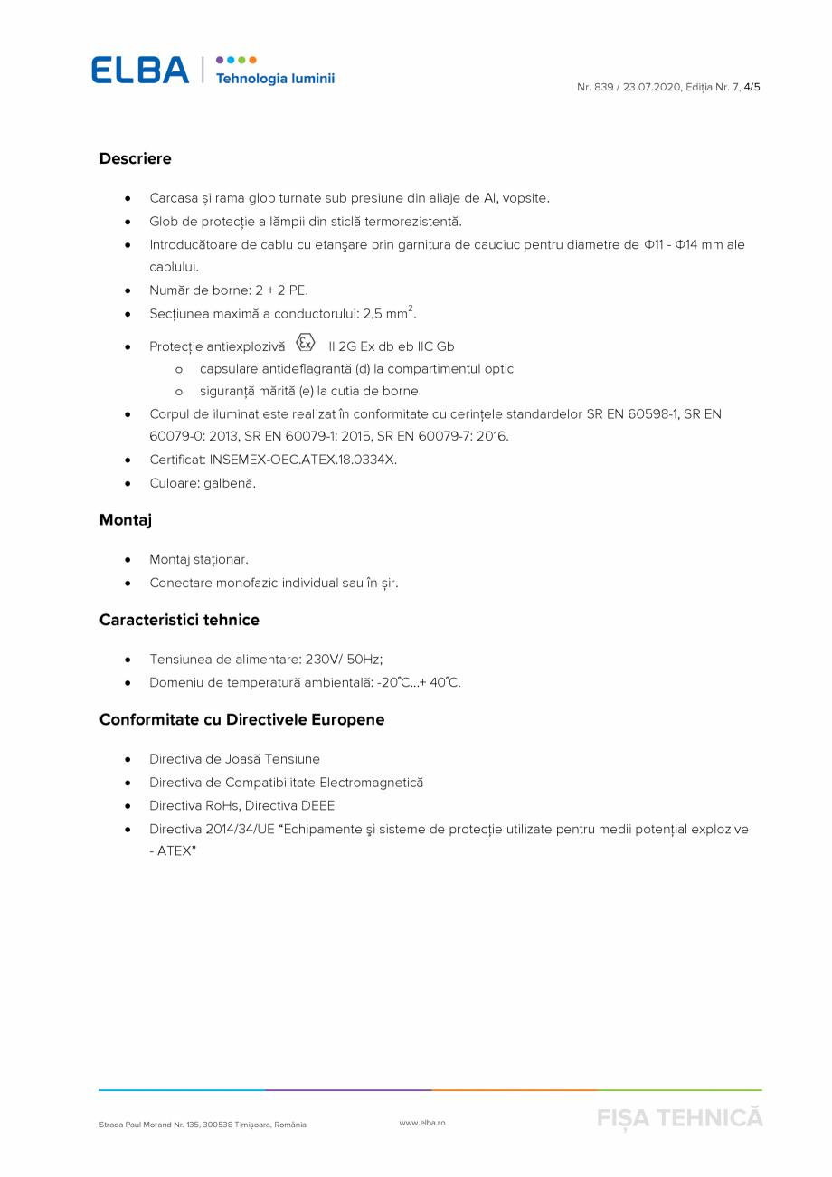 Pagina 4 - Corp antiexploziv pentru iluminat ELBA-COM AI 02 C Fisa tehnica Romana  împotriva...