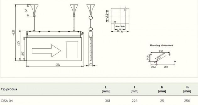 Schiță dimensiuni Bloc de iluminat autonom permanent - CISA 04 LED - 230V 50 Hz IP40