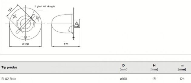 Schiță dimensiuni Corp de iluminat industrial protejat la praf si umezeala - EI-02-60W 24V