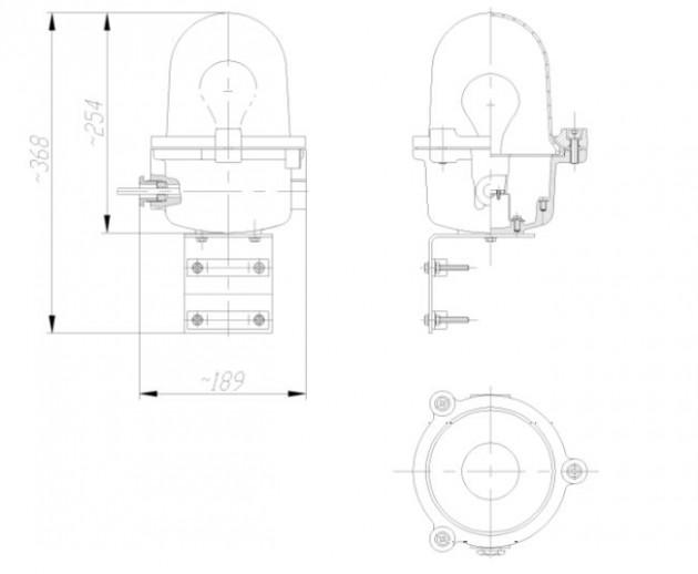 Schiță dimensiuni Lampa de balizaj cu filtru rosu - LBFR-03