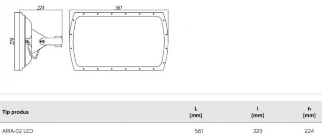 Schiță dimensiuni Proiector pentru iluminat industrial interior si exterior - ARIA-02 GEN3