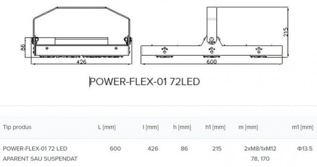 Schiță dimensiuni Corp de iluminat industrial si pentru spatii largi - POWER-FLEX-01 LED
