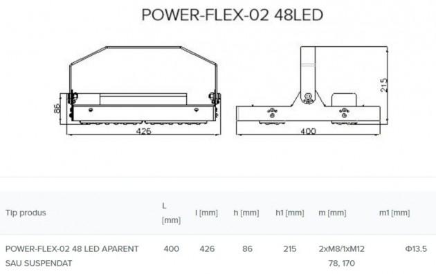Schiță dimensiuni Corp de iluminat industrial si pentru spatii largi - POWER-FLEX-02 LED