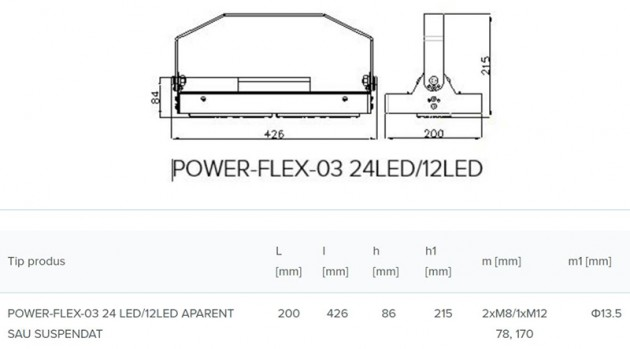 Schiță dimensiuni Corp de iluminat industrial si pentru spatii largi - POWER-FLEX-03 LED