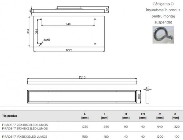 Schiță dimensiuni Corp de iluminat pentru spatii largi - FIRADS-17 1RX5BX33LED LUMOS