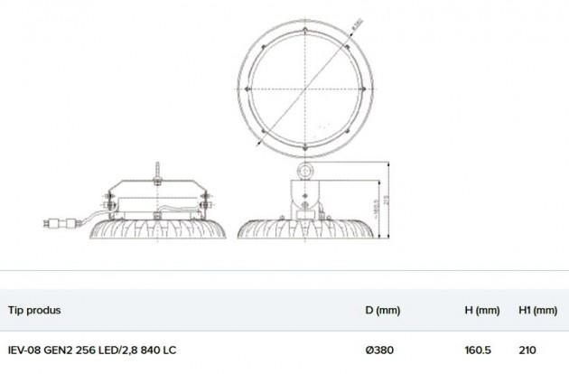 Schiță dimensiuni Corp de iluminat pentru spatii largi - IEV-08 GEN2 256 LED 2 8 840
