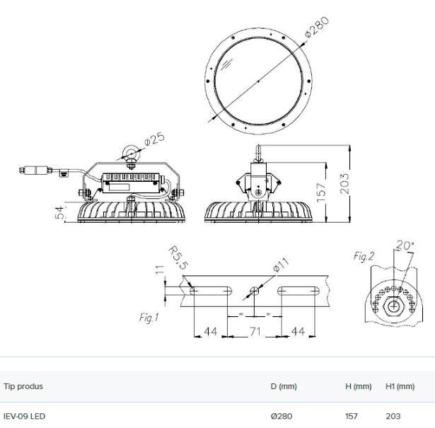 Schiță dimensiuni Proiector pentru interior - IEV 09 LED 13000LM 88W 840 0.7