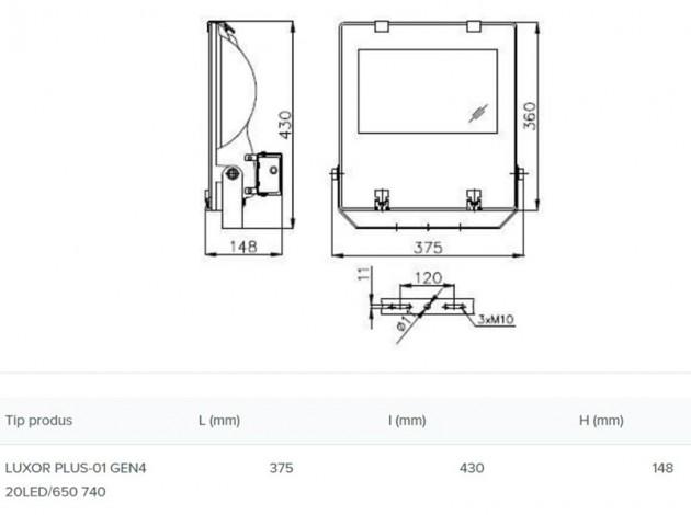Schiță dimensiuni Proiector arhitectural exterior - LUXOR PLUS-01 GEN4
