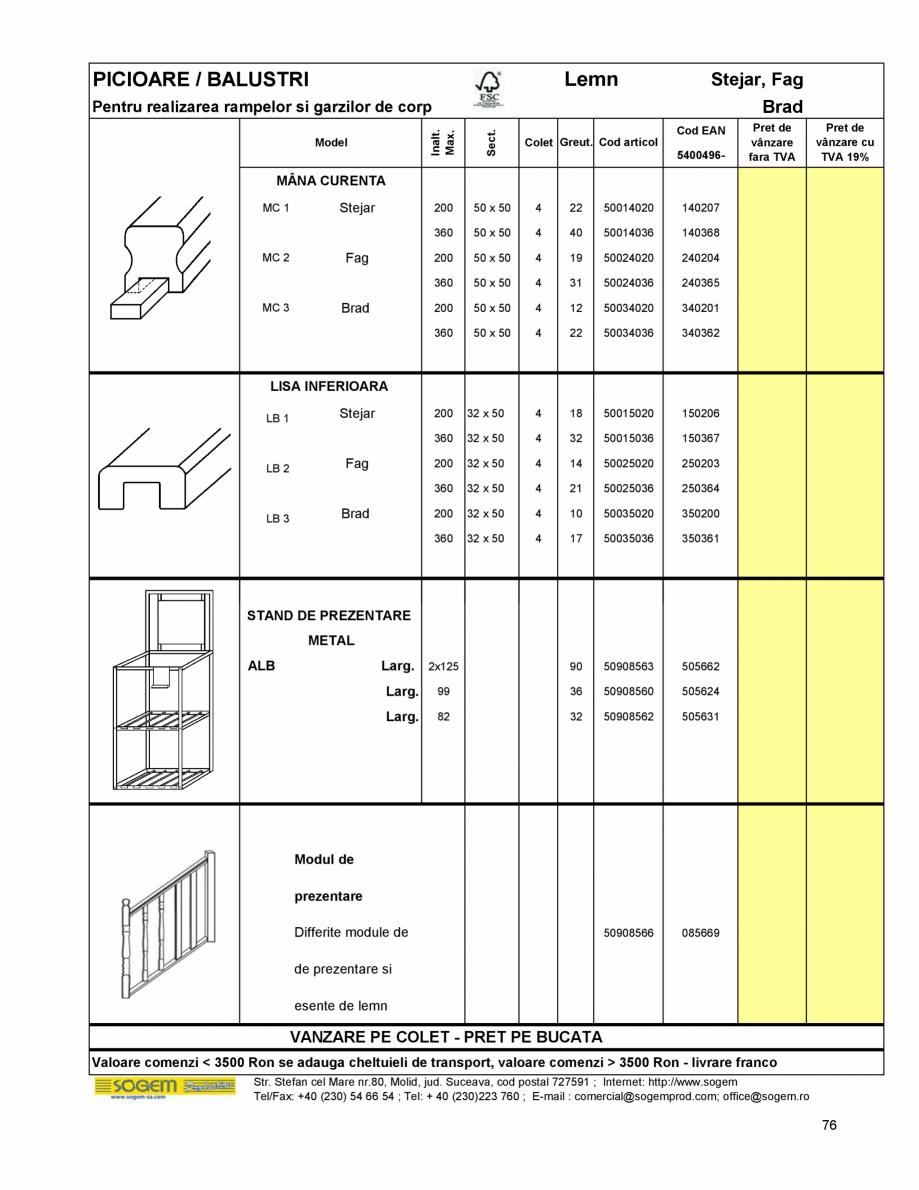 Pagina 82 - Scari moderne SOGEM Gomera, Kalea, Tambora, Triax, Auvergne, Bretagne, Osaka, Tokyo,...