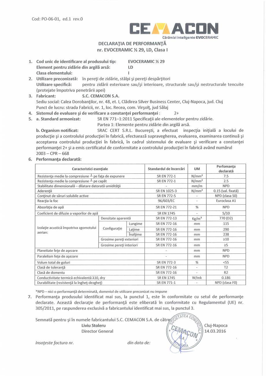 Pagina 1 - Declaratie de Performanta CEMACON EVOCERAMIC EC 1/2 29 Certificare produs Romana