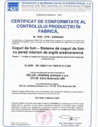 Certificat de conformitate al productiei in fabrica cos de fum