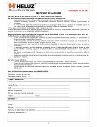 Certificat de garantie cos de fum
