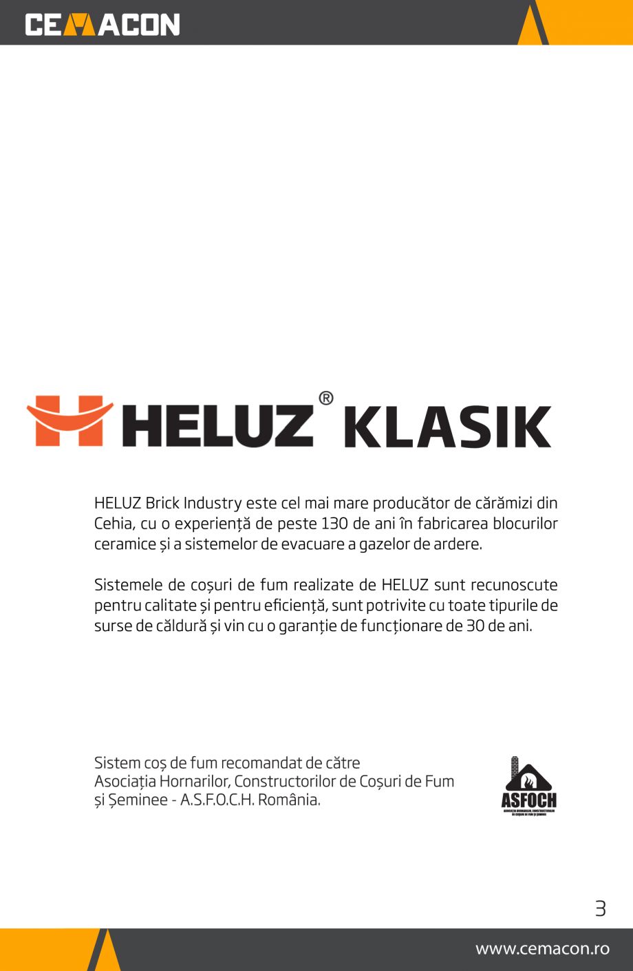 Pagina 3 - Instructiuni de punere in opera a cosului de fum HELUZ Instructiuni montaj, utilizare...
