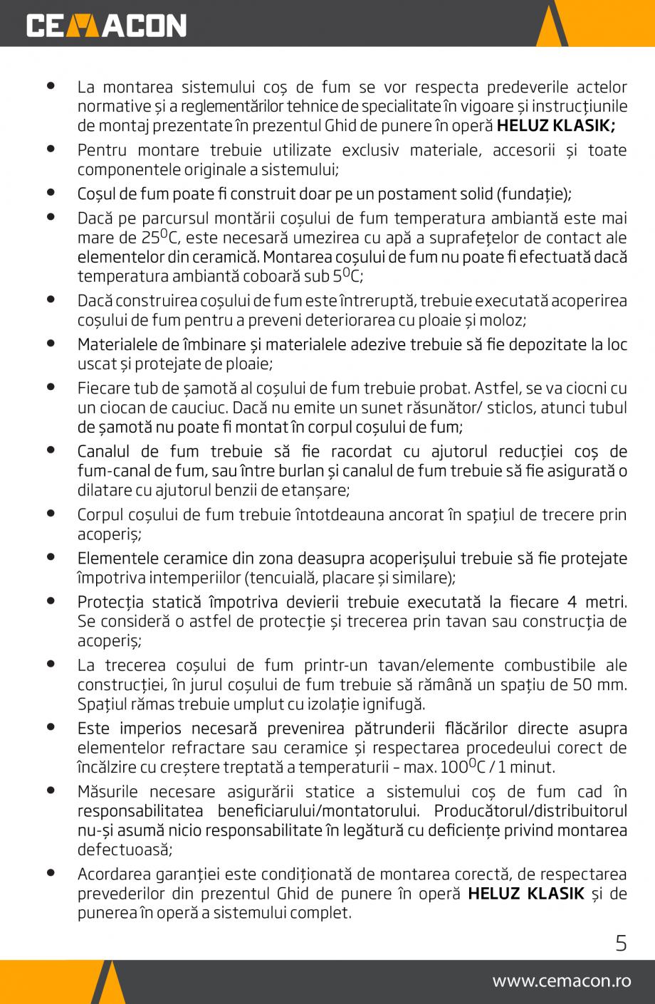 Pagina 5 - Instructiuni de punere in opera a cosului de fum HELUZ Instructiuni montaj, utilizare...