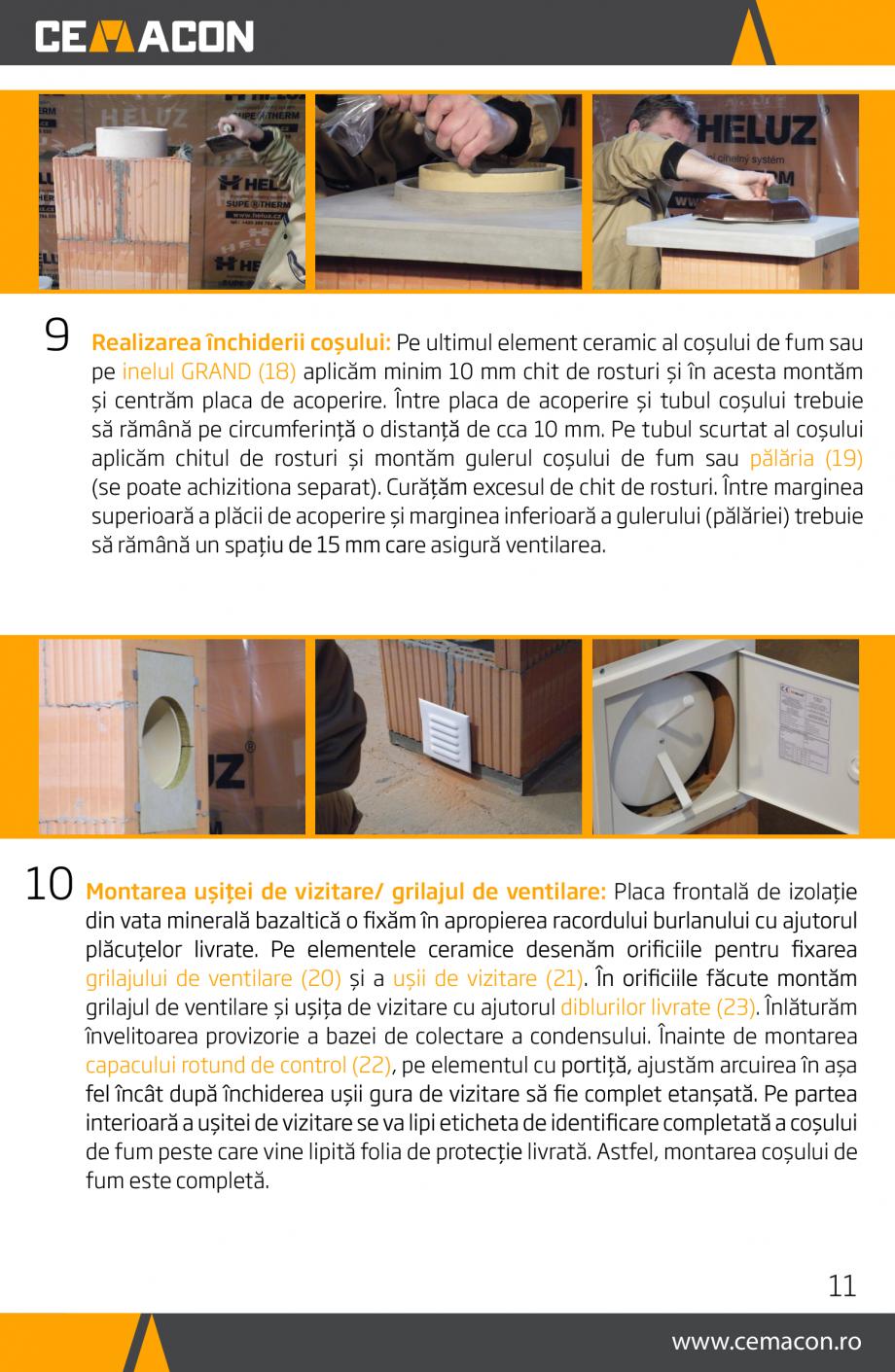 Pagina 11 - Instructiuni de punere in opera a cosului de fum HELUZ Instructiuni montaj, utilizare...