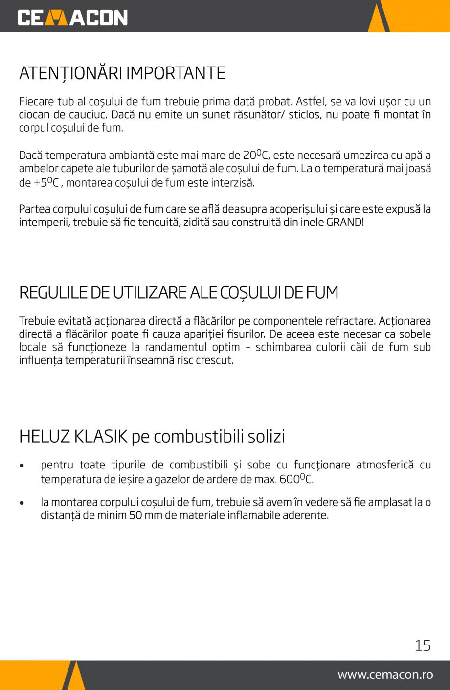 Pagina 15 - Instructiuni de punere in opera a cosului de fum HELUZ Instructiuni montaj, utilizare...