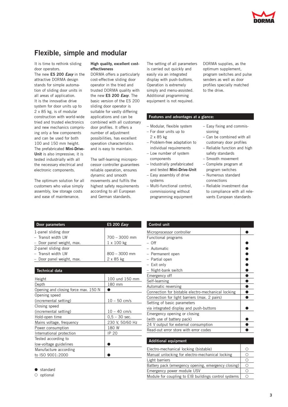 fisa tehnica sisteme de automatizare pentru usi glisante es 200 easy dorma sisteme de