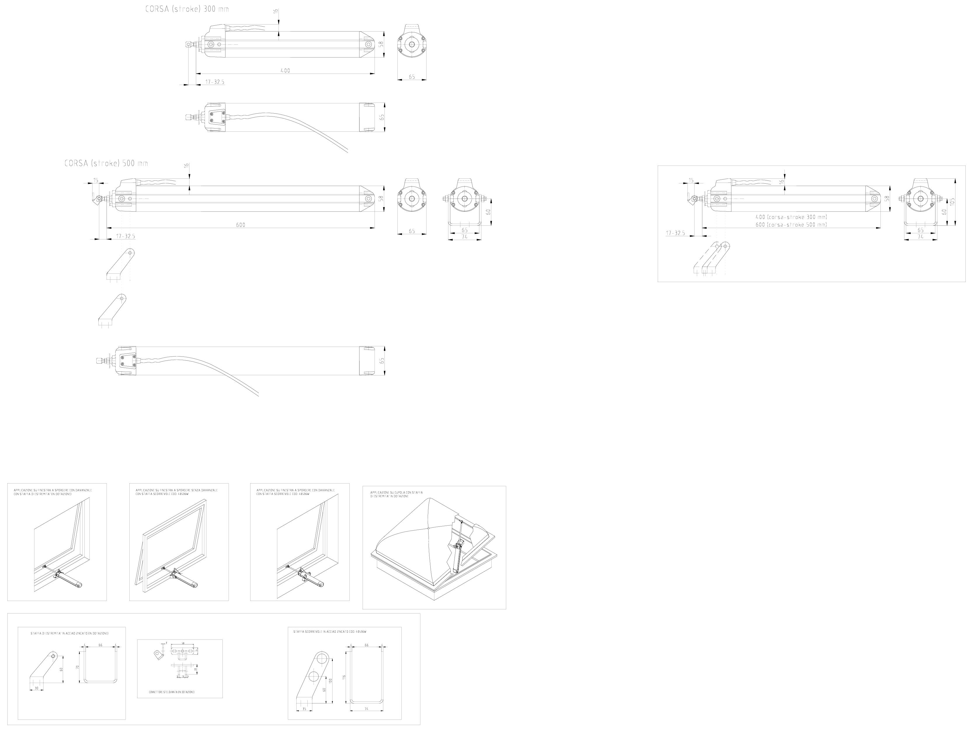 Pagina 1 - CAD-DWG Actuator electric liniar cu tija MAX cursa maxima 500mm KADRA Detaliu de montaj