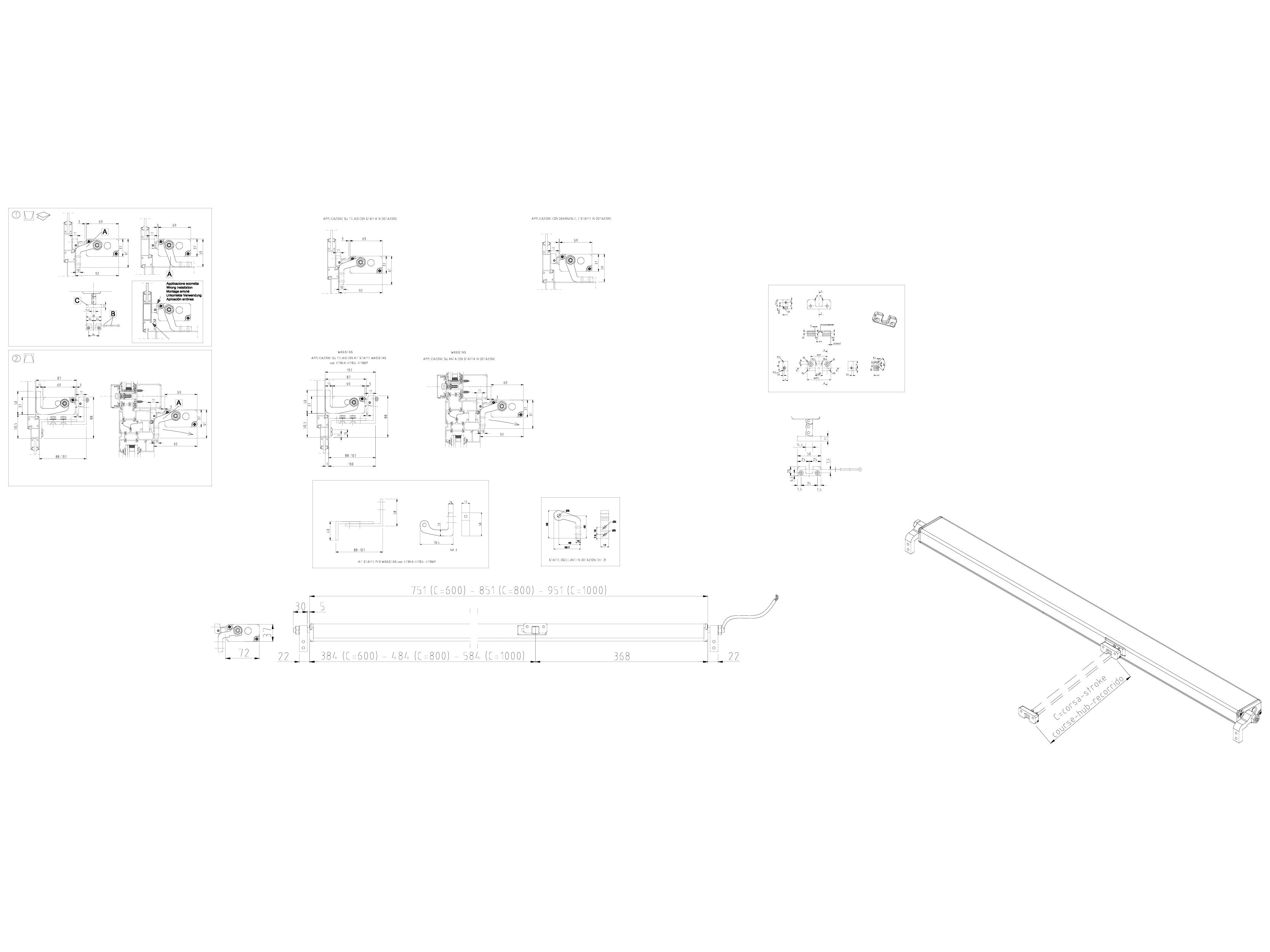 Pagina 1 - CAD-DWG Actuator electric cu lant: cursa maxima 1000 mm KADRA Detaliu de montaj QUASAR L