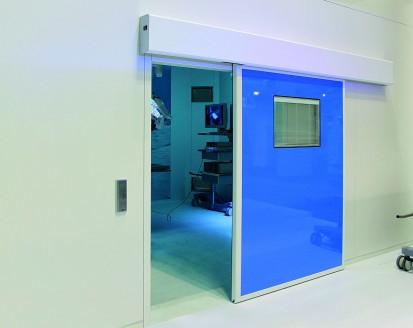 Usa medicala automata albastra Usi pentru sectorul medical Usi medicale automate