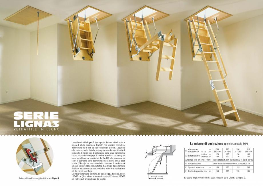Pagina 1 - Scari retractabile de lemn GEOCOM TRADING&CONSULTING LIGNA 3 Fisa tehnica Italiana 2...
