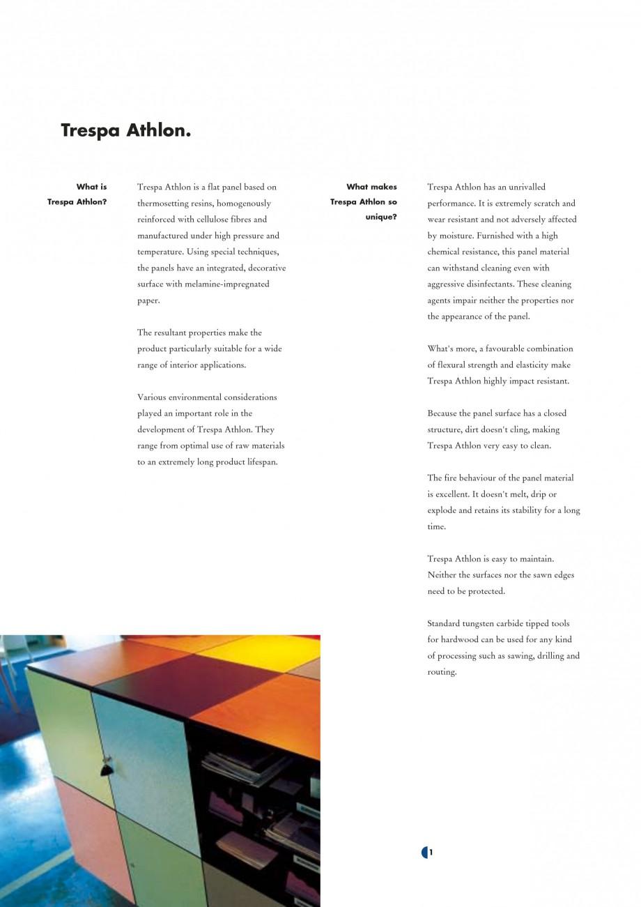Pagina 3 - Placaje HPL pentru interior TRESPA ATHLON Catalog, brosura Engleza 0 535...